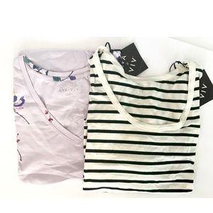 Purple & Ivory Striped Short Sleeve T-shirts Lot